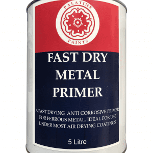 5l paint tin in red and blue palatine paints livery with tudor rose logo. Wording says Fast Dry Metal Primer