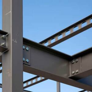 Grey painted steel beam structure