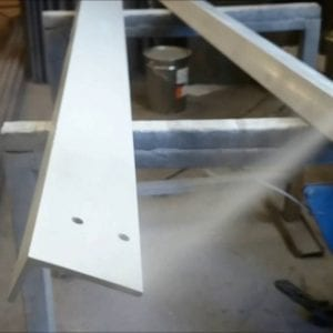 Steel girder sprayed with galvansing spray