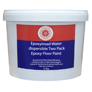 10kg white container with blue and red label. White wording reads Epoxytread Water Dispersible Two Pack Epoxy Floor Paint