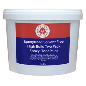 10kg white container with red and blue label. Wording in white states: Solvent Free High Build Floor Coating is suitable for use where a hard wearing, dust free, hygienic, easy to clean floor coating is required.