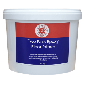 10kg tub with blue, red label. White text says Two Pack Epoxy Floor Primer designed for priming before applying Epoxytread Solvent Free High Build Floor Paint