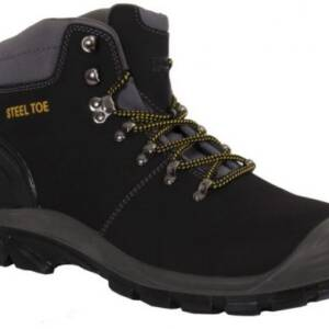 "A black nubuck hiking boot with wording ""steel toe"" embroidered in yellow. Laces are black/yellow twist. Grey and black chunky sole"