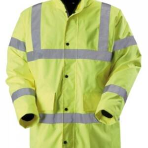 bright yellow hi viz jacket with nobody wearing it. Silver/Grey reflective strips on shoulder, across sheds and on arms