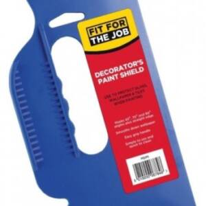 Blue plastic handle with straight and angled edge for painting against windows. Branding states Fit For the Job