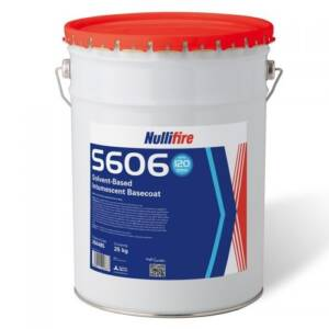 Tub of nullifire intumescent coating white with blue label, red lid. With wording Nullifure S606
