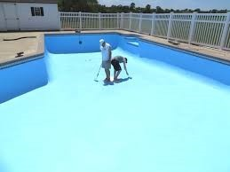 Pool painted with Carbochlor chlorinated rubber paint