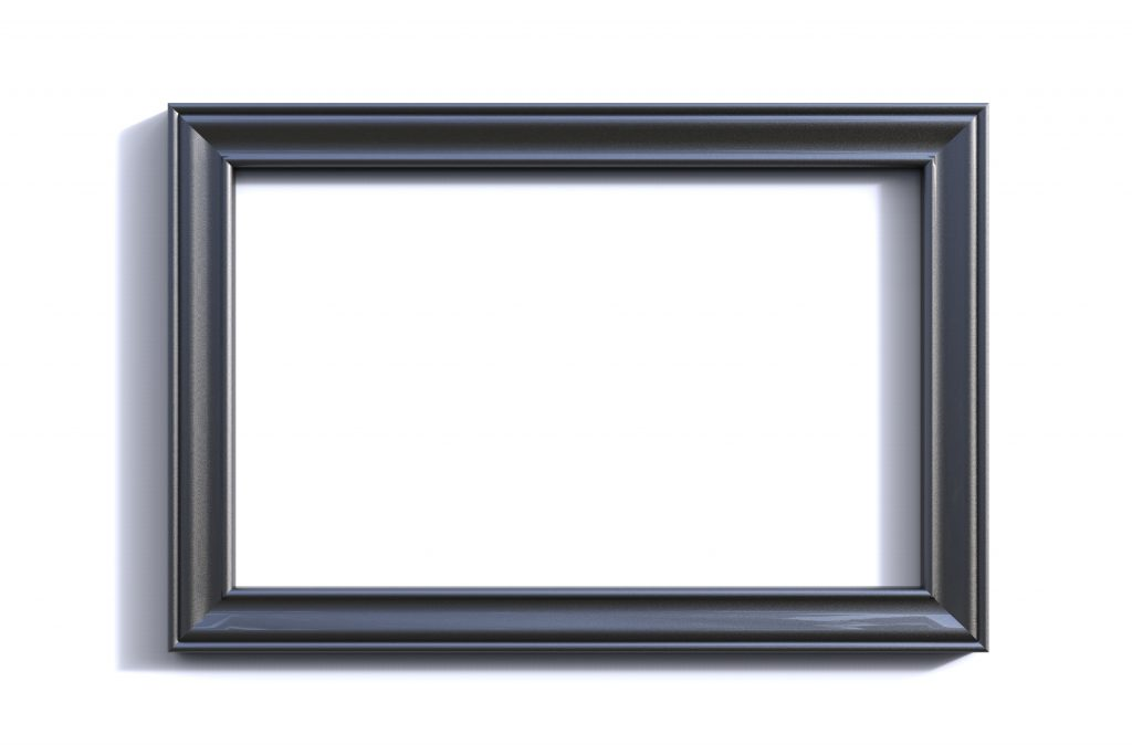 Rectangular Grey Picture frame on white background
