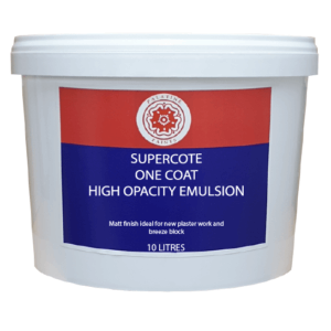 10L Tub of Supercote One Coat High Opacity Emulsion. Red/blue label and Palatine Paints tudor rose logo