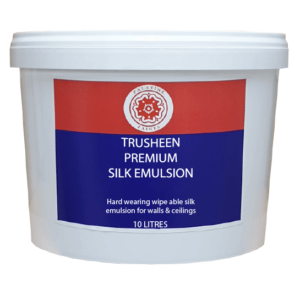10L plastic container of Trusheen Premium Silk Emulsion. Red, Blue label and additional wording: hardwearing wipeable silk emulsion. Palatine Paints red tudor rose logo is at the top of the label
