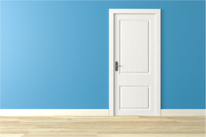 Sky blue walls with white doors and skirting boards in room with pale wooden floor